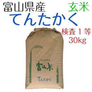 米 お米 玄米 30kg  てんたかく 富山県産  検査1等...
