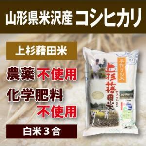 山形県米沢産 コシヒカリ 完全無農薬米 3合 (白米)上杉藉田米 minorinokai