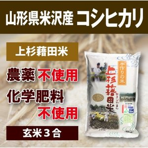 山形県米沢産 コシヒカリ 完全無農薬米 3合 (玄米)上杉藉田米 minorinokai