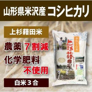 山形県米沢産 コシヒカリ 超低農薬米 3合 (白米)上杉藉田米 minorinokai