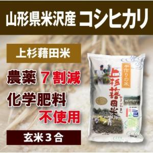 山形県米沢産 コシヒカリ 超低農薬米 3合 (玄米)上杉藉田米 minorinokai