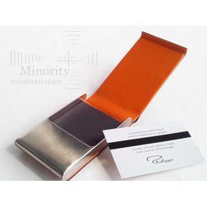 ドイツ Philippi  フィリッピ Equipe カードケース  名刺入れ ( ブラウン × オレンジ )|minorityplus