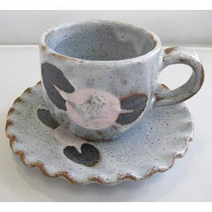 碗碗館 美濃焼 国産 手造り 鼠志野椿 コーヒ碗皿 20%OFF ラッピング可|minoyakisquare
