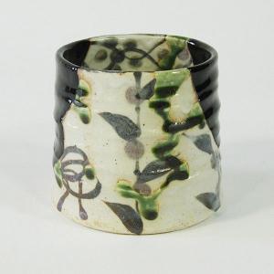 織部 美濃焼 黒織部草紋ロックカップ(玉山窯) ラッピング可|minoyakisquare