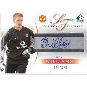 04 UD MANCHESTER UNITED SP AUTHENTIC BEN WILLIAMS 直筆サインカード 571/625|mintkashii