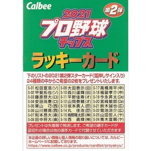 21カルビープロ野球チップス第2弾 ラッキーカード|mintkashii