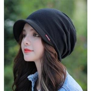 帽子レディース秋冬キャスケットつば付きコットンおしゃれ小顔効果医療用|minto