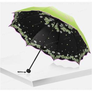 折りたたみ傘直径98cm耐風撥水晴雨兼用軽量310g1人用UVカット頑丈な8本骨内側に絵柄携帯便利なコンパクト折り畳み傘|minto