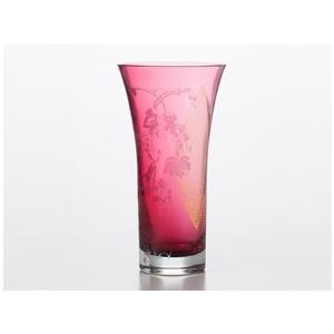 江戸硝子 紅玻璃 花器 花瓶 フラワーベース ギフト 還暦祝い 誕生日 ギフト 記念品 切子グラス 定年退職 贈り物|miracle-house