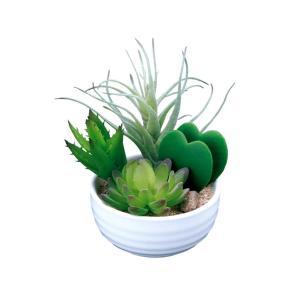 人工観葉植物 光触媒 寄せ植えラブリー 造花 フェイクグリーン フェイクフラワー 消臭 抗菌 防汚 置き物 インテリア ギフト プレゼント かわいい|miracle-house