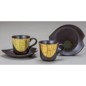 カップ 九谷焼 ペアコーヒー 金箔彩 コーヒーカップ 紅茶 来客用 かわいい コップ マグ コーヒー 結婚式引出物 陶器 和食器 おしゃれ 人気|miracle-house