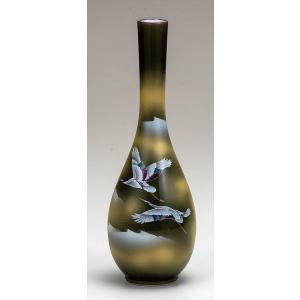 花器九谷焼 8.5号花瓶 雲海に双鶴 かびん 生け花 おしゃれ かわいい 人気 フラワーベース 父の日 贈り物 新築祝い 結婚祝い 内祝い お祝い|miracle-house
