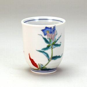九谷焼 1ヶ湯呑 リンドウ 湯飲み茶碗 贈り物ギフトにおすすめ 伝統工芸品 和の器 湯呑み茶碗 来客用 セット 湯のみ 湯飲み茶わん お茶呑茶碗 miracle-house