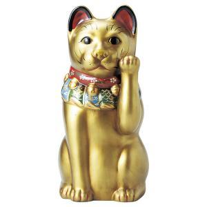 瀬戸焼 古色大正猫12号(金) 約43cm 招き猫 置物 開運 猫 グッズ 縁起物 商売 繁盛 猫の日 玄関  おすすめ プレゼント  まねきねこ おしゃれ miracle-house