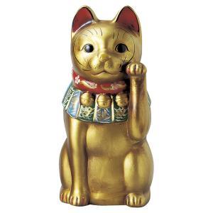 瀬戸焼 古色大正猫大(金) 約36.5cm 招き猫 置物 開運 猫 グッズ 縁起物 商売 繁盛 猫の日 玄関  おすすめ プレゼント  まねきねこ おしゃれ miracle-house