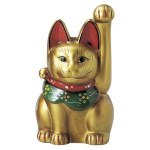 瀬戸焼 古色三河猫手長(大)金 約27cm 招き猫 置物 開運 猫 グッズ 縁起物 商売 繁盛 猫の日 玄関  おすすめ プレゼント  まねきねこ おしゃれ miracle-house