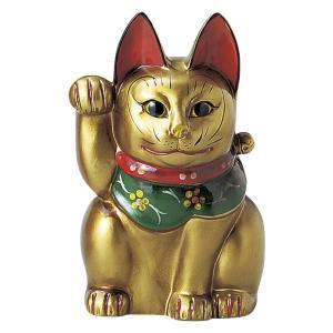 瀬戸焼 古色三河猫(大)金 約21cm 招き猫 置物 開運 猫 グッズ 縁起物 商売 繁盛 猫の日 玄関  おすすめ プレゼント  まねきねこ おしゃれ miracle-house