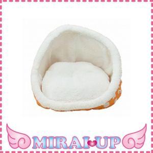 【ペットプロ】 <br>ドットソフトボア キュートベッド オレンジ<br>【当日発送可】|mirai-up