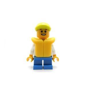 レゴ シティ 男の子(白服/ライフジャケット)ライム帽 - ミニフィグ (3m7)【メール便可】|miraiya05