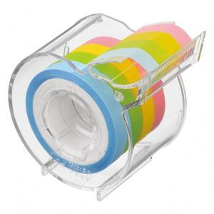 ヤマト メモックロールテープ 7mm幅 カッター付き 半透明フィルム 4色4巻入り 付せん