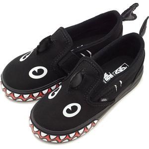 バンズ VANS ベビー キッズ スリップオン ベルクロ シャーク ウィーク KIDS SLIP-ON ヴァンズ スリッポン スニーカー 靴 PHIN ブラック VN0A3488V4H FW19 mischief