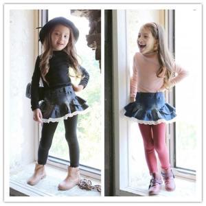 子供服 キッズ デニムスカート レギンス付き フリル 女の子 カジュアル 2色|misoamiso