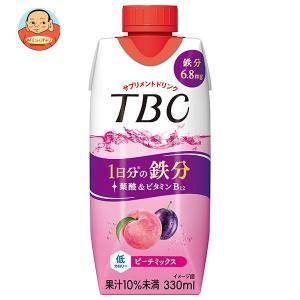森永乳業 TBC Wヒアルロン酸+コラーゲン アップル&ピーチ(プリズマ容器) 330ml紙パック×12本入|misono-support