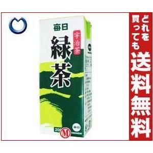 【送料無料】毎日牛乳 毎日緑茶 200ml紙パック×24本入 misonoya