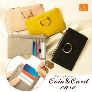 財布 レディース メンズ カードケース コインケース 小銭入れミニ財布 カード入れ スリム財布 コンパクト 財布 ラウンドゴールドリング送料無料buy|missbeki