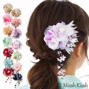 花びら下がりの和柄2輪コサージュ 七五三 和装 浴衣 髪飾り かんざし 髪留め 和風 ヘアコサージュ 花