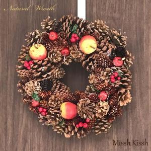 クリスマスリース リース 32cm 松ぼっくり Red Apple&Pine インテリア 装飾玄関 ...