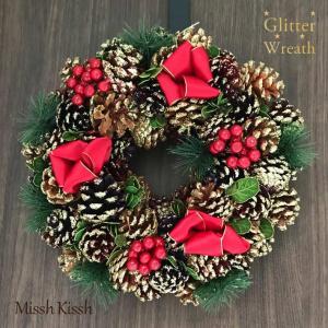 クリスマスリース 32cm 3色松ぼっくり リボン Pinecone Ribbon Wreath M...