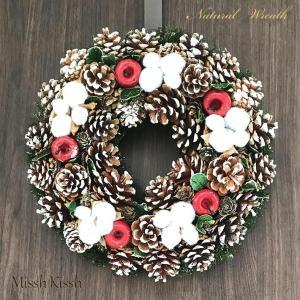 クリスマスリース 34cm りんご 松ぼっくり コットン 苔 Wreath Apple Cotton...
