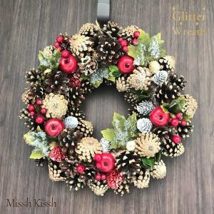 クリスマスリース 35cm 松ぼっくり りんご Wreath Pinecone Red Apple-...