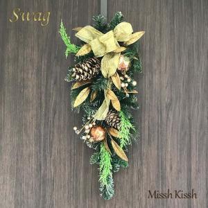 クリスマスリース スワッグ Swag 壁飾り Swag-Gold Ribbon & Leaf Chr...