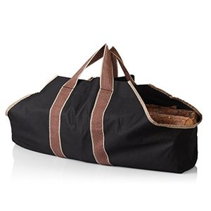 薪 まき 持ち運び用 帆布 ログ トート キャリー バッグ bag ブラック [並行輸入品]|mississippi