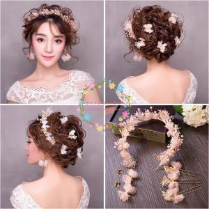 花冠 かすみ草 ウェディング 安い ティアラ 花かんむり 造花 髪飾り 二次会 花嫁 結婚式 手作り キット