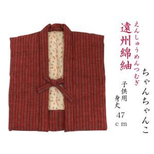 【日本製・遠州綿紬】わた入り こどもちゃんちゃんこMサイズ(身丈47cm)〜tb-54 misugido