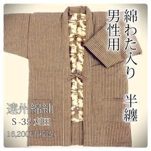 【日本製・遠州綿紬】わた入り半天 Lサイズ(身丈88cm)〜S-35〜刈田(かりた)|misugido