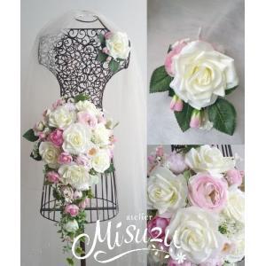 キャスケードブーケ ブトニアセット バラ ピンク 海外挙式 前撮り 造花1-artcas27|misuzu1187