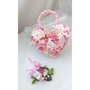 【ハートバックブーケ・ブトニアセット】アートフラワー 造花 ハート型 バックタイプ ピンク (1-heart_pink_08)|misuzu1187