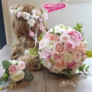 ブーケ・ブートニア・花冠のセット ラウンド バラ ローズ ピンク 上質2-bo053 misuzu1187