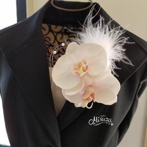 コサージュ078  胡蝶蘭 淡い桜色 髪飾り フォーマル 入学式 卒業式 結婚式 発表会|misuzu1187