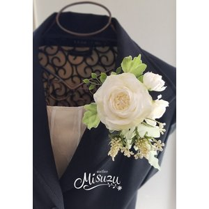 コサージュ ヘアコサージュ ヘッドドレス 髪飾り 入園入学式 卒園卒業式 結婚式 バラ ブライダル(2-corsage022)|misuzu1187