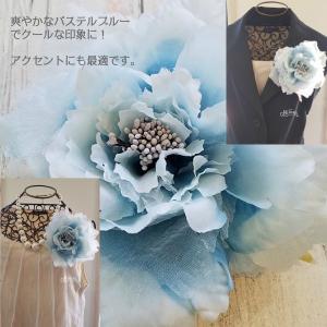 オーガンローズコサージュ ブルー 入学式 卒業式 パーティ ヘッドドレス 4カラー ブライダル|misuzu1187