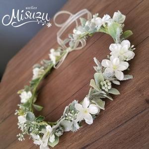 ヘッドドレス ガーデンウェディング 造花 夏フェス 髪飾り ヘアパーツ ティアラ 花輪(crown257)|misuzu1187