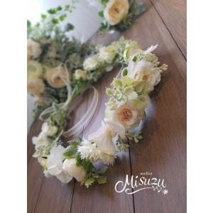 ヘッドドレス 花冠セット ウェディング 造花 夏フェス 髪飾り ヘアパーツ 花輪|misuzu1187