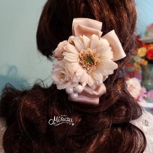 髪飾り ヘアパーツ コサージュ ガーベラ リボン 着物 成人式 和婚 misuzu1187