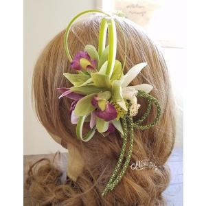 髪飾り コサージュ 和婚 和装ヘア 着物 入学式卒業式 シンビジウム 袴 七五三 成人式 帯飾り チャーム