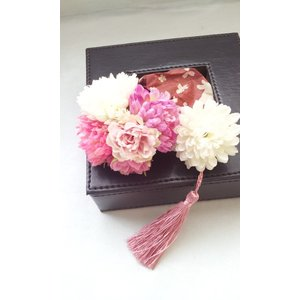 髪飾り2個セットピンポンマム ピンク系A6 成人式・七五三・和婚ブライダルに!|misuzu1187